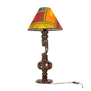 HEBANOWA LAMPA Z WYRZEŹBIONYM SŁONIEM