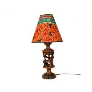 LAMPA Z DREWNA MAHONIOWEGO